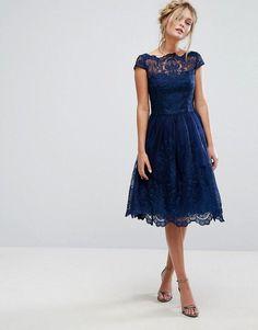 Chi Chi London Premium Lace Midi Dress With Cap Sleeve #mididress
