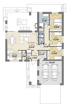 DOM.PL™ - Projekt domu FA OCEANIA CE - DOM GC6-28 - gotowy koszt budowy Large House Plans, New House Plans, Dream House Plans, House Floor Plans, Bungalow House Design, Modern House Design, Building Design, Building A House, Three Bedroom House Plan