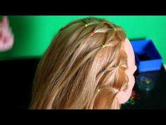 Детская прическа с плетением cеточка - YouTube