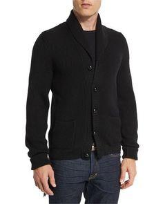 TOM FORD Iconic Shawl-Collar Cardigan, Black. #tomford #cloth #