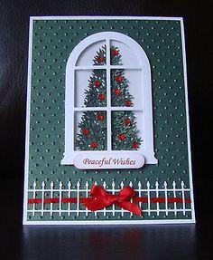Stampin Up Handmade Christmas Tree Window Card - Uses embossing folder