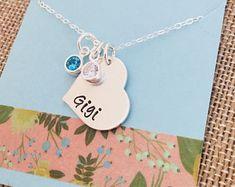 Gigi Birthstone Necklace, Sterling Silver Grandma Necklace, Grandma Heart Necklace, Mimi Necklace, Personalized Heart Necklace