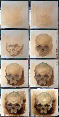 Skull study, step by step by JeffStahl on DeviantArt Skull Painting, Painting & Drawing, Matte Painting, Painting Abstract, Drawing Tips, Digital Painting Tutorials, Art Tutorials, Arte Gcse, Gcse Art Sketchbook