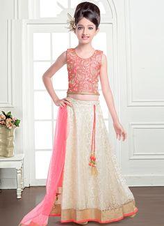Gorgonize Peach And Cream Jacquard Designer Kids Lehenga Choli
