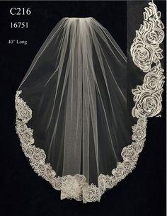 Beautiful Alencon Lace Edge Wedding Veil C216 - Affordable Elegance Bridal -