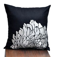 Silver Throw Pillow Cover, Black Linen Silver Flower Embroidery, Pillow Accent Black, Decorative Pillow Cover 18 x 18, Embroidered Cushion