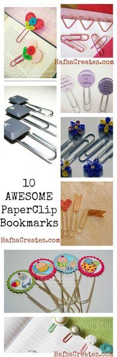 various paper clip bookmark ideas