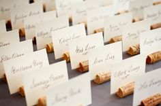 Fun and creative way to create place cards. Especially if you drink the wine first! -Evrim Icoz