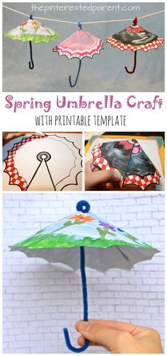 Spring Umbrella Craft with printable template. Color or paint and cut for this great spring and rainy day Arts and crafts for kids and Craft Spring Umbrella Craft With Printable Arts And Crafts For Teens, Art And Craft Videos, Crafts For Seniors, Spring Crafts For Kids, Diy Crafts For Kids, Fun Crafts, Paper Crafts, Painting Crafts For Kids, Arts And Crafts Movement