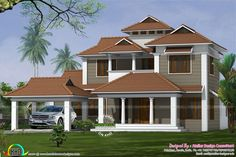 5 bedroom , 2850 Square Feet (265 Square Meter) (317 Square Yards) traditional model home architecture. Design provided by Atelier design consultant, Palakkad, Kerala.
