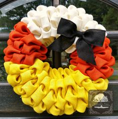 Hey, I found this really awesome Etsy listing at https://www.etsy.com/listing/161682320/candy-corn-fall-burlap-wreath-19