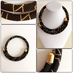Necklace made of miyuki beads (Black matt and 24k). Handmade, bead crochet technique