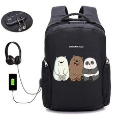 PINkart-USA 05 Anime We Bare Bears Backpack Anti Theft Usb Charging Laptop Backpack Boys Girl Student Book Shoulder Travel Bag Unisex Knapsack Laptop Backpack, Backpack Bags, We Bare Bears Wallpapers, Laptop Storage, Laptops For Sale, School Items, School Bags, We Bear, Back Bag