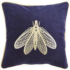 Golden Dragonfly Velvet Navy Pillow
