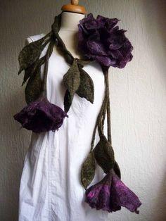 felted wool flower leaf necklace scarf lariat by FeltedArtToWear