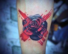 Black Red Rose Men's Tattoo Ideas