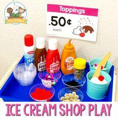 Ice Cream Dramatic Play Ice Cream Shop Pretend Play in Preschool Ice Cream Parlour Role Play, Play Ice Cream, Ice Cream Stand, Ice Cream Theme, Ice Cream Parlor, Ice Play, Dramatic Play Themes, Dramatic Play Area, Dramatic Play Centers