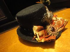 SALE Steampunk Hat - Little Black Top Hat - Sprockets and Gears Pheasant and Grizzly Striped Feathers Brocade and Velvet