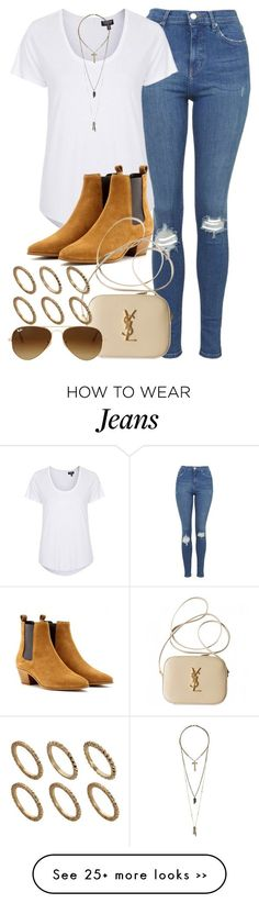 """Style #9192"" by vany-alvarado on Polyvore featuring Topshop, Yves Saint Laurent, Ray-Ban, Relic and Pieces"