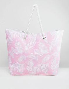 1610f81e0a Shop South Beach Pink Leaf Print Beach Bag at ASOS.