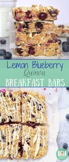 Break out of breakfast boredom with easy to pack Lemon Blueberry Quinoa Breakfast Bars. Blueberry Quinoa Breakfast Bars, Quinoa Bars, Breakfast Bars Healthy, Nutritious Breakfast, Breakfast Ideas, Blueberry Quinoa Recipes, Breakfast Cookies, Breakfast Club, Good Healthy Recipes