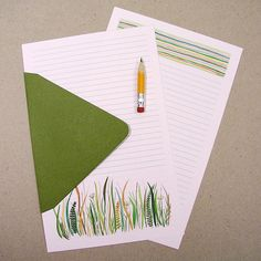 Robayre Letter Writing Stationery Paper Set Prairie Green robayre.etsy.com