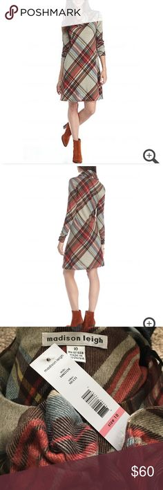 Madison Leigh pretty plaid trapeze dress This pretty plaid dress has a coordinating infinity scarf.  Flattering ruche sleeves define this plaid dress.  Elevated by a figure skimming trapeze silhouette that you will love. Approx 36.5 in length.  Pullover dress with scoop neck  polyester /spandex Madison Leigh Dresses Long Sleeve