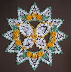 PDF Crochet Pattern Set- Butterflies and Roses Pineapple Doilies (6 different designs)