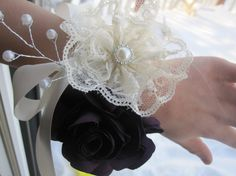 Fabric flower corsage wrist corsage vintage style by darlyndax, $19.00
