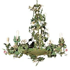 Antique french tole chandelier traditional chandeliers c 1920 italian tole chandelier with bisque flowers mozeypictures Image collections