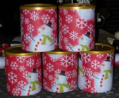 For thrifty gifts this Christmas, I decided to make cocoa for several people on my list. Instead of buying glass containers, I saved my baby's formula cans and peeled off the labels. I measured the length and diameter of the can and cut wrapping paper to fit.