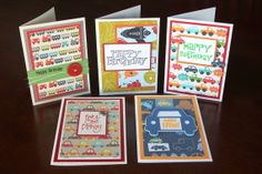 5 pack Boys Birthday Cards - Transportation