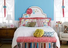 Cute bedroom, love the colors and accents!
