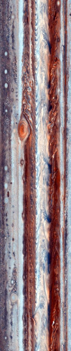 A cylindrical projection of Jupiter stitched together from photos taken by the Cassini spacecraft during its December 2000 flyby of the planet.