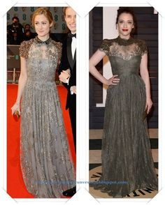 Un vestido de Valentino de encaje gris se lo vimos a Hannah Bagshawe en los Bafta; después se lo vimos a Kat Dennings en la fiesta de Vanity Fair.