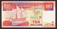 "Singapore banknotes 10 Dollars banknote Ship Series - Barter trading vessel ""Palari"""