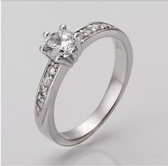 925 sterling silver & shiny zircon & platinum plated ring Free shipping Canaan - AdClasFREE.com