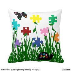 Butterflies puzzle pieces plates pillows