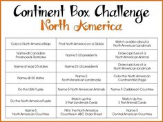 Continent Box Challenge North America, with editable PDF printables for creating challenges unique to my continent box setup
