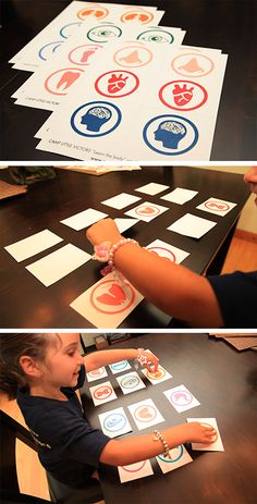 Learn about the body - free printable sheets for a DIY card matching game to help your kids learn about the human body