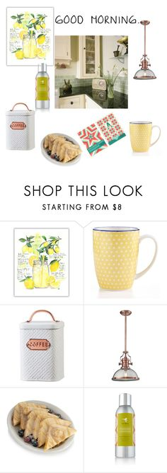 """Good Morning Sunshine"" by summer1967 ❤ liked on Polyvore featuring interior, interiors, interior design, home, home decor, interior decorating, Certified International, Amici Home, ELK Lighting and French Toast"