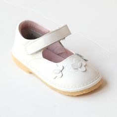A L'Amour favorite, the butterfly details will be appreciated by your girl. White Shoes For Girls, Girls Shoes, Baby Shoes, White Butterfly, T Strap, Your Girl, White Leather, Mary Janes, Doll Clothes