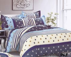 Lenjerie de pat 100% bumbac satinat Pucioasa cu buline si dungi Comforters, Textiles, Satin, Blanket, Bed, Home, Stream Bed, House, Elastic Satin