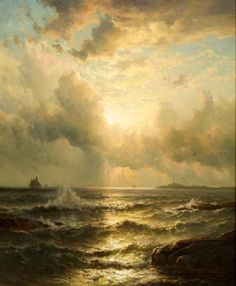 """Sunset at Star Island, Isles of Shoals"", Mauritz F. H. de Haas (1823 - 1895), Oil on canvas, 41 x 34"", Private collection."