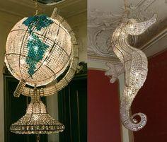 globe & seahorse chandis. immaculate.