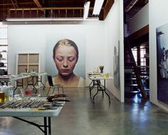 When you see a studio this organized and pretty, you expect to see art this squared away.