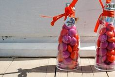 Wedding, Pink, Orange, Favors, Candy, Weddings by stephanie, inc, Bottle