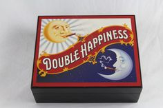Rare Double Happiness Cigar Wooden Box Case, Cigar Smoking Sun and Moon, Empty SOLD