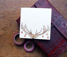 10 hand Drawn kerstkaarten  herten Xmas Card  kerstkaart