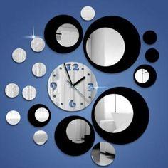 Los círculos modernos de DIY Diseño Espejo de acrílico negro de plata del reloj…